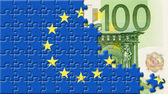 United Europe flag over 100 euro — Stock Photo