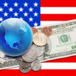 World currency - globe with money over USA banner — Stock Photo