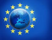 联合国欧洲船旗国和在它的全球 — 图库照片