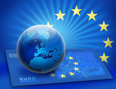 United Europe flag and globe over map — Stock Photo
