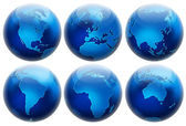 Six different positions globes isolated on white — Stock Photo