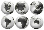 Six different positions globes isolated on white — Stockfoto
