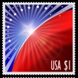 USA stamps with abstract american flag design — Stock Photo