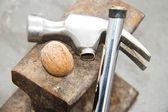 Unbroken walnut and broken hammer — Stock Photo