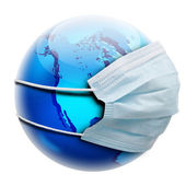 Abstract allegory concept with globe and flu mask — Stock Photo
