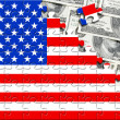 Puzzle with flag USA and dollars — Stock Photo
