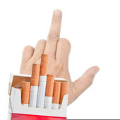 Cigarettes over man's fucking hand. — Stock Photo