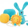 Threads yellow and blue and toys — Stock Photo