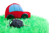 Ecological clean concept car on green grass — Stock Photo