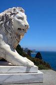 Löwen-statue, die auf der suche auf see — Stockfoto