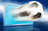 Football ball go out through blue screen. — Stock Photo