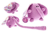 Three pink elephants with long trunk. — Stock Photo