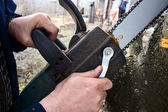 Adjusting saw — Stock Photo