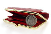 Red wallet and cuban coin — Stock Photo