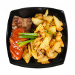 Grilled meat and fried potatoes on a plate — Stock Photo #9273526