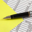 Stock Photo: Fountain Pen,Post-It and Spreadsheet
