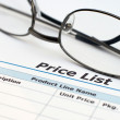 Stock Photo: Price list