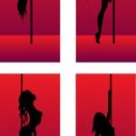 Kızlar dans siluetleri kümesi — Stok Vektör