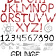 Hand drawn grunge alphabet — Stock Vector