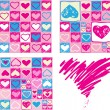 Set of Valentine seamless pattern — Stok Vektör