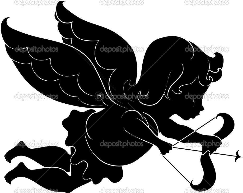 Illustration silhouette of cupid with bow and arrow — Stock Vector #8606128