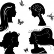 Set of silhouettes girls — Imagen vectorial