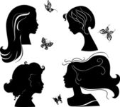 Set of silhouettes girls — Stock Vector