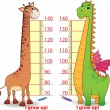 Stadiometers for children with cute Dragon and Giraffe — Stock Vector