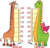 かわいいドラゴンとキリンと子供のための stadiometers — ストックベクタ