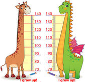Stadiometers for children with cute Dragon and Giraffe — Vector de stock