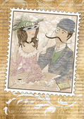 Postage stamp in vintage style with a picture of loving couple — Stock Photo