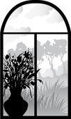 Silhueta de janela retrô — Vetor de Stock