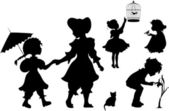 Set of silhouettes kids — Stock Vector