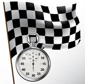 Checkered flag and stopwatch — Stock Vector