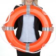 Beautiful businesswoman with life buoy — Stock Photo #8763203