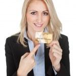 zakenvrouw bedrijf creditcard — Stockfoto