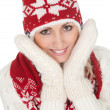 Beautiful woman in warm winter clothing - Stock Photo