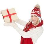 Beautiful woman in warm winter clothing — Stock Photo #8765336