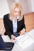 Beautiful businesswoman doing finances — Stock Photo
