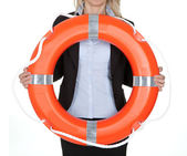 Beautiful businesswoman with life buoy — Stock Photo