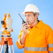 Senior land surveyor with theodolite — Lizenzfreies Foto