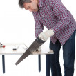 Worker cutting piece of laminate — Stock Photo