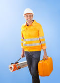 Senior land surveyor with theodolite equipment — Stock Photo