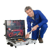 Automechanic taking a wrench out of toolbox — Stock Photo