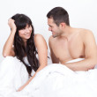 Couple waking up in bed — Stock Photo #9858598