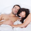 Lovely young couple sleeping — Stock Photo #9858712