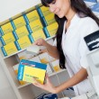 Buying medicine at pharmacy — Stock Photo