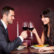 Couple at romantic dinner in restaurant - 图库照片