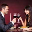 Couple at romantic dinner in restaurant - Stockfoto
