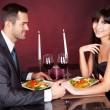 Couple at romantic dinner in restaurant — Stock Photo